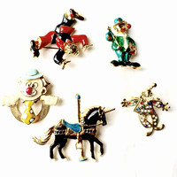 Circus Pin Lot of 5 Vintage Brooches Wen Giovanni signed Figural Unicorn Horse Clown Fool Costume Jewelry