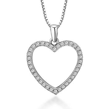 Dainty Crystal  Heart Necklace  Gold Plated with Cubic Zirconia