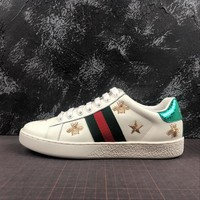 Gucci Ace Embroidered Bees And Stars Sneaker White Leather With Green Web - Best Online Sale