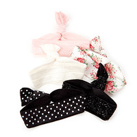 FOREVER 21 Polka Dot Hair Tie Set Cream/Pink One