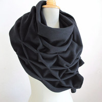 geometric wool shawl - superwarm sculptural wrap - triangular 100% wool scarf, black