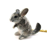 3D Porcelain Chinchilla Shaped Ceramic Pendant Necklace