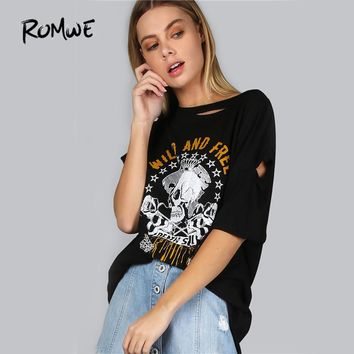 Distressed Skull Print T-Shirt Punk Style Tee Women Sexy Cut Out Casual Tops Summer New O Neck Graphic Cotton T-Shirt
