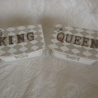 KING QUEEN Harlequin Pattern Wedding Ring Bearer Pillow Box Set
