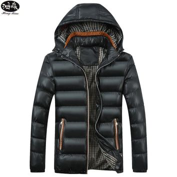 Mens Coat Outerwear Hood Padded Quilted Jackets Parka Hooded