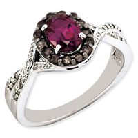 Sterling Silver Oval Rhodolite Garnet, Smoky Quartz & Diamond Halo Twist Ring