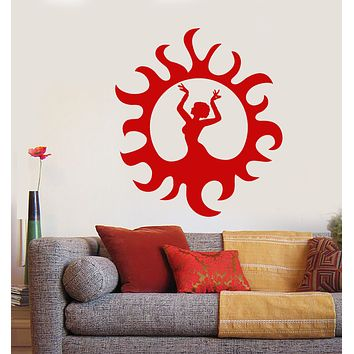 Vinyl Wall Decal Indian Dance Girl Dancer Sun Flames Stickers (3603ig)