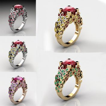 Red, Purple Stone 925 Sterling Silver Wedding Promise Love Engagement Ring