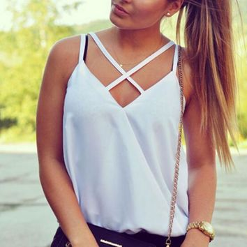 Sleeveless Loose Straps Crisscross Shirt Top Tee