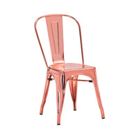 Sundsvall Stackable Cartier Rose Gold Steel Side Chair (Set of 4)