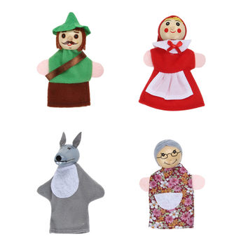 4pcs Lot Kids Toys Finger Puppets doll Plush Toys Little Red Riding Hood Wooden Headed Fairy Tale Story
