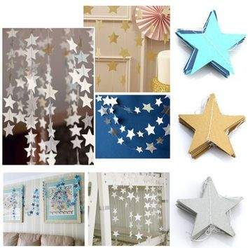 Stars String Banner Garland Baby Shower Curtain Party Home DecorChic