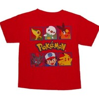 Pokemon 6 Character Profile Boys Short Sleeve Shirt