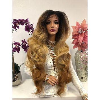 Brown Blond Brunette Balayage Ombre Swiss Lace Front Wig 30 Inches   360' Deep MULTI Parting   Volume Curls Layered Hair   Parker 1018