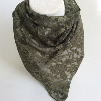 Olive Green lace scarf, Green lace scarf, Dark Green cowl neck scarf, Green bandana, fancy lace scarf gift for wife, scarf to match suit