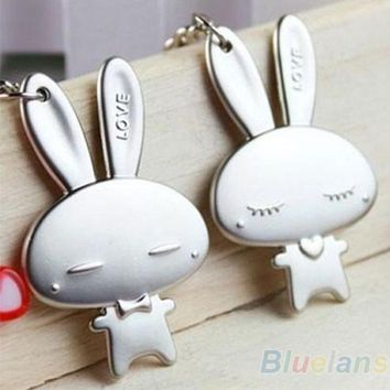 Couple Keychain Valentine's Day Lover Gift Rabbit Keyring Keyfob 1 Pair
