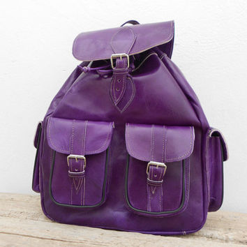 Handmade Purple Leather Backpack Medium Violet Mauve, satchel bag Soft Leather School College Picnic Weekend bag, Gift For Her