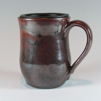 Ceramic Travel Mug  Coffee Cup Brown Black  Stoneware Ceramics  Pottery