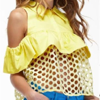DCCK6HW Fashion  Solid Color Sleeveless Frills Stitching Polka Dots Hollow Lapel Shirt Tops