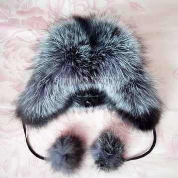 Winter Russia fur hat boy Real Fox Fur Hat kids Children Earmuff hats pompom raccoon Warm Ear fox fur Hats caps