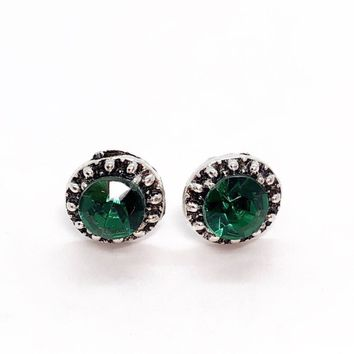 ON SALE - Marcasite Emerald Green Halo Stud Earrings