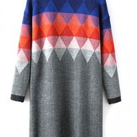 High Neck Geometric Color Block Long Sleeve Knit Dress