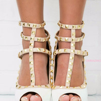 Saturday Stroll White Studded Peep Toe Strappy Heels