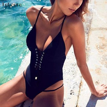2018 Sexy Bandage One Piece Swimsuit Women Swimwear Strappy Monokini Padded Swim Suit Solid Backless Bathing Suit Beach Wear