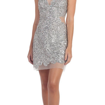 Short Sexy Cocktail Silver Dress Sequins Mesh Illusion Neckline