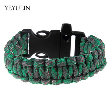 Fashion Cool Handmade Colorful String Braided Outdoor Travel Bracelet For Male Female Survival Military Paracord Jewelry