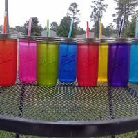 Frosted Colored Ball MASON JAR Sippy Tumbler - Glass -Choose your Color - 24 oz  - Weddings - Bachelorette Party - Baby Showers - Favors