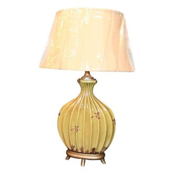 Pre-owned Ribbed Aged Green & Rust Ceramic Table Lamp