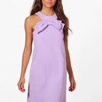 Lissy Bow Front Detail Shift Dress | Boohoo