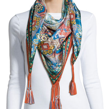 Morelli Silk Georgette Tassel Scarf, Size: ONE SIZE, MULTI - Johnny Was Collection