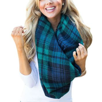 Chicloth Green Blue Plaid Oversized Square Scarf