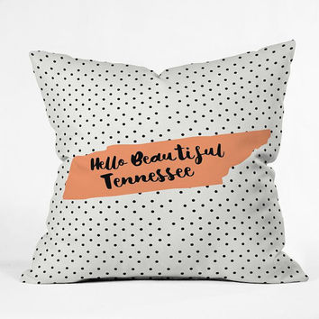 Hello Beautiful Tennessee Pattern Throw Pillow / orange / cute dots / cute Tennessee / beautiful Tennessee / Hello tennessee / girly TN