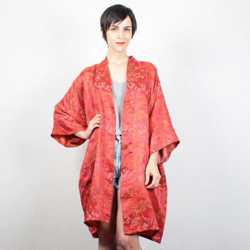 Vintage Kimono Jacket Red Embroidered Ethnic Robe Draped Duster Jacket Boho Hippie Kimono Festival Duster M L Large XL Extra Large XXL