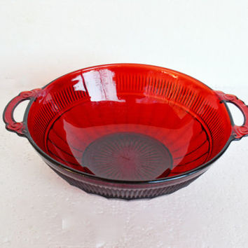 Vintage Ruby Red Glass Bowl - Vintage Anchor Hocking Depression Glass Royal Ruby Red, Coronation Berry Bowl