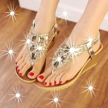 2015 Summer Women Luxury Handmade Gem Beading sandals Girls Flip Flops Bohemian Silver