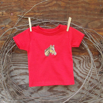 Baby Boys Clothes Red T shirt, 6. 12 and 18 months,  horse embroidery