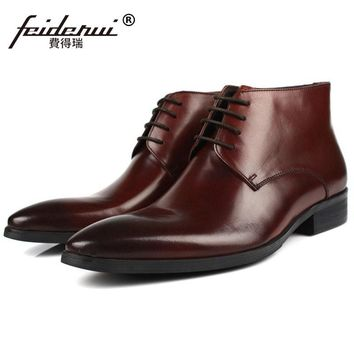 Luxury Brand Pointed Toe Man Handmade Outdoor Shoes Italian Genuine Leather Male Footwear Men's Cowboy Martin Ankle Boots PF80