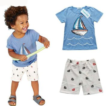 Boys Sailboat Themed T Shirt and Shorts Set