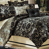 Raschel Black Lace Look Comforter Bedding by Croscill