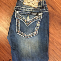 Miss Me Distressed Border Pocket Capris - Denim