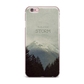 "Robin Dickinson ""Brave The Storm"" Snow Mountain iPhone Case"