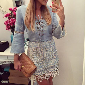 LACE DENIM LONG-SLEEVED DRESS