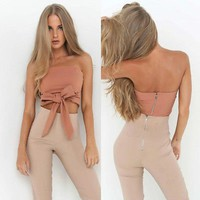2017 Fashion Women Summer Cotton Bowknot Bandeau Blouse Shirts Off Shoulder Bodycon Casual Shirt Cropped Tops Outfit Sunsuit NEW