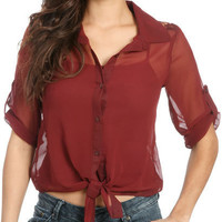 Chiffon Tie Front Lace Blouse | Shop Tops at Wet Seal