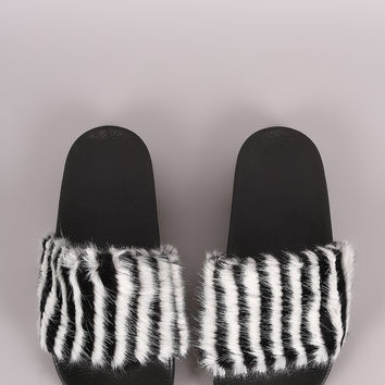 Faux Fur Open Toe Slide Sandal