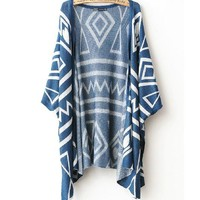 Geometric Shawl Loose Sweater Coat A 082605